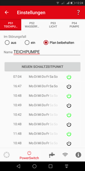 Power Switch App Einstellungen